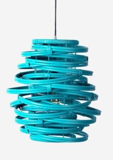 (LS) Oceola Hanging Lamp-Rattan in Sky Blue..(18X18X19)..