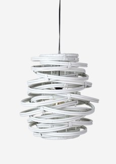 (LS) Oceola Hanging Lamp-Rattan in White..(18X18X19)..
