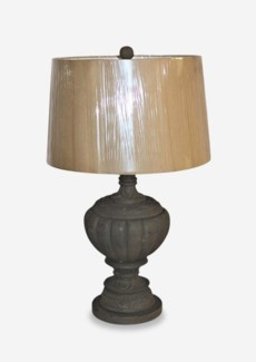 Grey Washed Hand Carved Wood Vessel Lamp (18x12x31)