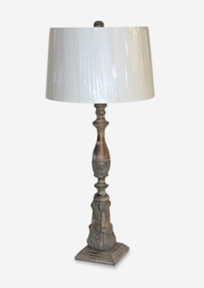 Hand Painted & Carved Wood Column Base Lamp (16x6.4x34.5)