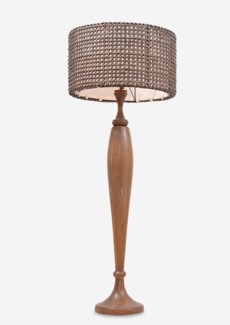 (LS) Queen Floor Lamp w/ turned wood base (10X10X43) (Base + Shade = 2 boxes/pc)
