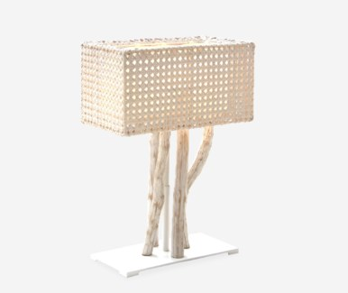 (SP) Jungle Table Lamp White Wash With Rectangular Shape (18X10X25) (2 boxes per piece)