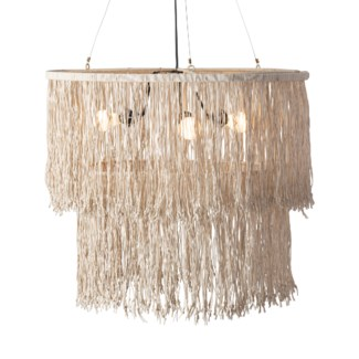 Fringe Drum Chandelier with Leather Tassles (28x28x22)