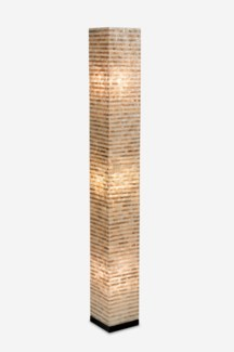 Uptown Gold-White Capiz Stripes Design Floor Lamp-Large