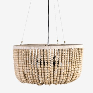 Juliet Hand Crafted Wooden Bead & Leather Chandelier (22x22x14)