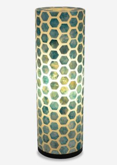 Octagon Pattern Capiz Table Lamp-Large-Turquoise(8x8x25)