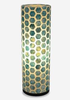 (SP) Octagon Pattern Capiz Table Lamp-Large-Turquoise..(8x8x25)..