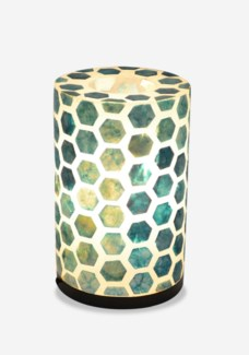 (LS) Octagon Pattern Capiz Table Lamp-Small-Turquoise..(8x8x17)..
