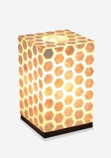 (LS) Octagon Pattern Capiz Table Lamp-Small-White..(8x8x17)..