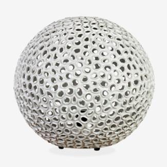 "20"" Elara Round Fiberlass Lamp - Grey (20X20X18)"