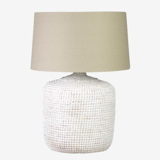 "Knit White Washed Seagrass Base Table Lamp with Round Shade""2 BOXES PER ITEM"""