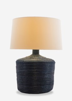 "Handwoven Indigo Blue Seagrass Table Lamp with Round Shade (13x13x25)""2 BOXES PER ITEM"""