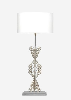 "(LS) 25"" Tall Scroll Table Lamp W/Antique Scroll Iron Base and White Cotton Shade"