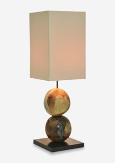 "29"" H Barlow Icy Round Teakwood Sphere With Recycled Glass Base Lamp (9x9x29)"