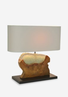 """(SP) 22"""" W Barlow Icy Free form Teakwood Block with Recycled Glass Base Lamp (22x8x20)..Material/Col"""