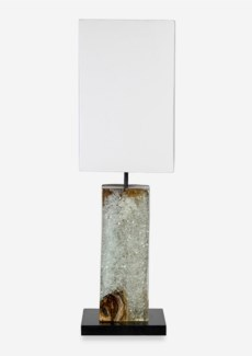 "29"" H Barlow Icy Teakwood Block with Recylced Glass Base Lamp (9x9x29)"