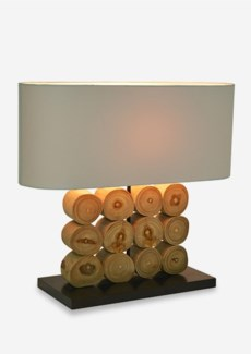 "22"" W Natural 3X4 Geometric Wood Log Table Lamp With Oval Shade (22x8x20)"