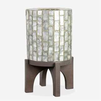"""(SP) 14.5"""" H  Apolo Vertical Capiz Table Lamp with Wood Base - GW (9x9x14.5).."""