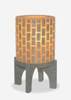 "(SP) 14.5""H  Apolo Vertical Capiz Table Lamp with Wood Base - WW (9x9x14.5).."