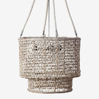 """21"""" H  Double Barrel Hand Woven Natural Rope Chandelier-White Wash"""