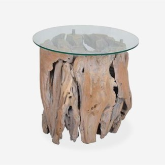 Natura Abstract Side Table W/Glass (Glass packed seperately)(20x20x21)