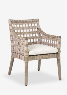 Durpe Vintage Grey  Arm Chair with Square Rattan Weave with Cream Cushion(24x27.5x34)