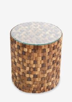 Diamond Wood Mosaic Round Side Table with glass top(16X16X17)