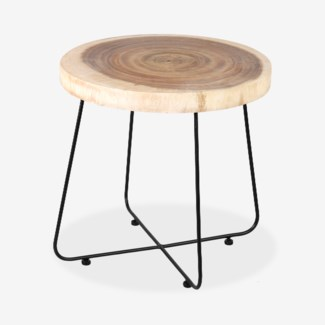 Harriet Round Side Table W/ Organic Wood Top and iron base