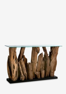 Kenya wood abstract console table with glass top(51X14X31.5)