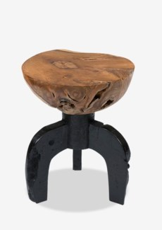 Kenya solid round teakwood stool with black wood base(15X15X19.5)