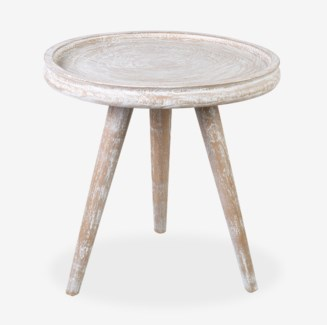 Liberte round tray side table with pin legs - White Wash