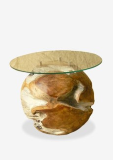 "Natura round  side table base (16X16X16) - ""INCLUDE GLASS"""