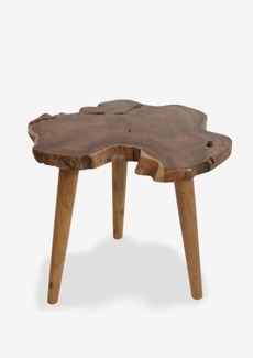 Natural Organic Side Table With Wood Leg Pins -Tall,Knock Down(22X18X19)