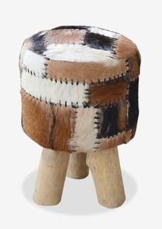 Safari Drum Stool With Leather Work (Patchwork) (12X12X18)