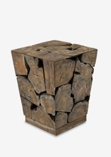Organic tapered wood side table-grey patina (16X16X20)