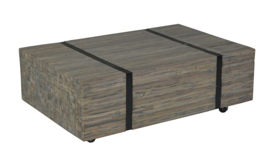 Reclaimed Teakwwod Bundle Coffee Table with Metal Straps - Grey Wash (43x28x17)