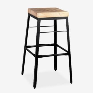 Organic Suar Wood Top Square Barstool (17x17x29)