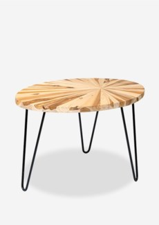 (SP) Sunburst solid wood oval coffee table with metal base (29.5x20x18.5)..