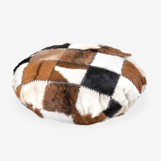 (LS) Safari Round Pillow in Patchwork Design..