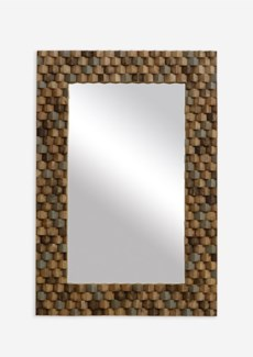 (SP) Terrace Wood Mosaic Rectangle Mirror..(27X1.5X39)..