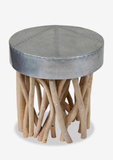(SP) Tempered metal top with wood stick base side table..(17X17X18)..