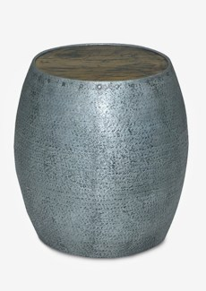 """18"""" Congo Tempered Metal Drum Shape Stool With Solid Wood Top (17x17x18)"""