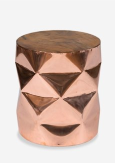 (SP) Tempered Polygon Copper Side Table with Recycled Teakwood Top..(14X14X16)..