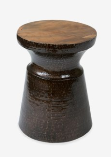 Tempered Aluminium Trophy Design Side Table with Reclaimed Wood Top(14X14X16)
