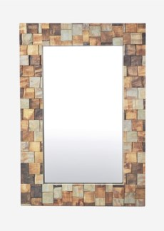 3D Wood Mosaic Rectangle Mirror(27X3X39)