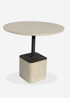 "Outdoor 31"" Pendulum Shape Fiberglass Reinforced Bistro Table In Grey Concrete Finish (31X31X29)"