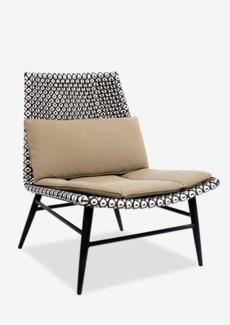 Outdoor Garret Chair With Two Tone Synthetic Rattan Weave And Taupe Sunbrella fabric (26X30.5X33)