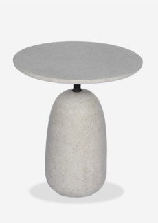 "Outdoor 18"" Round Bell Shape Fiberglass Reinforced Side table In Grey Concrete Finish (18X18X20)"