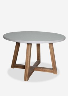 "Outdoor Tambora 47"" Round Fiberglass Reinforced Top Table With Natural Teakwood Base - K/D (47X47X30"