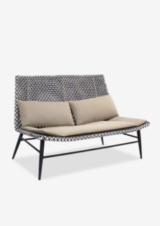 Outdoor Garret Settee With Two Tone Synthetic Rattan Weave And Taupe Sunbrella Fabric (48X30.5X33)